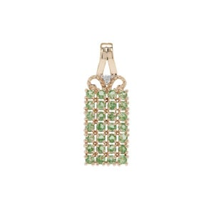 Tsavorite Garnet Pendant with Diamond in 9K Gold 1.13cts