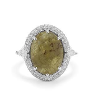 Grossular & White Zircon Sterling Silver Ring ATGW 14.45cts