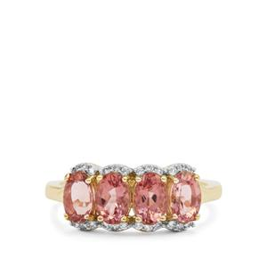 Rosé Apatite Ring with White Zircon in 9K Gold 2.20cts