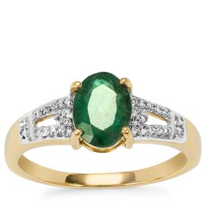Minas Gerais Emerald Ring with Diamond in 9K Gold 1.17cts