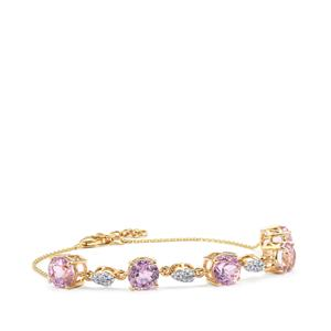 Mawi Kunzite Bracelet with Diamond in 18K Gold 8.97cts