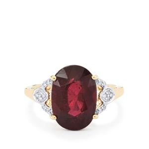 Malawi Garnet Ring with Diamond in 14k Gold 6.89cts