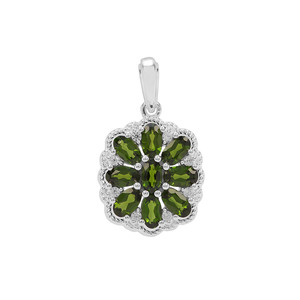 Chrome Diopside & White Zircon Sterling Silver Pendant ATGW 2.27cts