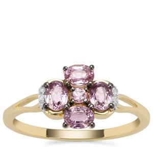 Sakaraha Pink Sapphire Ring with Diamond in 9K Gold 1.01cts