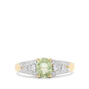 Paraiba Tourmaline Ring with Diamond in 18K Gold 1.18cts