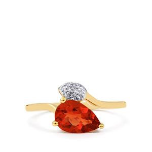 Tarocco Red Andesine & Diamond 10K Gold Ring ATGW 0.96cts