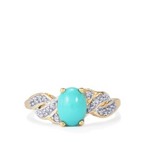 Sleeping Beauty Turquoise Ring with White Zircon in 9K Gold 1.24cts