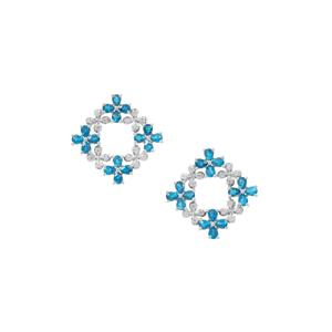 Madagascan Blue Apatite Earrings with White Zircon in Sterling Silver 5.66cts