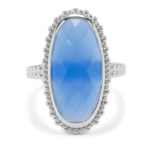 11.34ct Blue Chalcedony Sterling Silver Ring