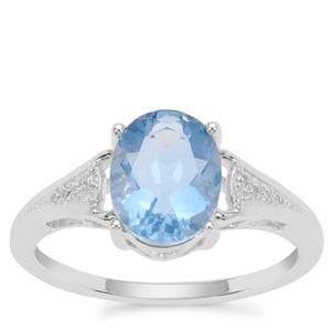 Colour Change Fluorite Ring with White Zircon in Sterling Silver 2.16cts