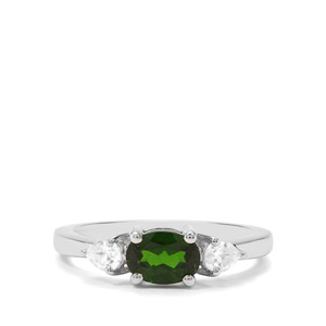 Chrome Diopside & White Zircon Sterling Silver Ring ATGW 1.19cts