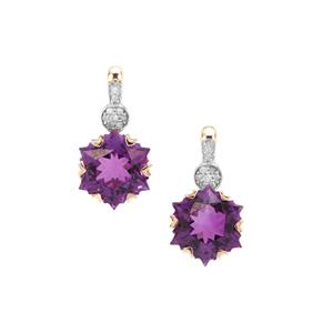 Wobito Snowflake Cut Moroccan Amethyst & Diamond 9K Gold Earrings ATGW 4.38cts