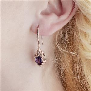 Amethyst Earrings with White Zircon in Rose Gold Vermeil 2.49cts