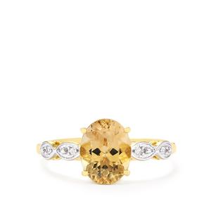 Champagne Danburite Ring with White Zircon in 10k Gold 1.95cts