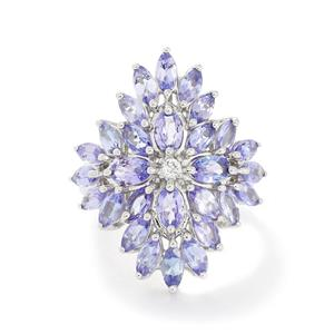 AA Tanzanite & White Topaz Sterling Silver Ring ATGW 6.36cts