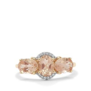Padparadscha Oregon Sunstone Ring with White Zircon in 9K Gold 2.35cts
