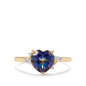 Mystic Blue Topaz Ring with Diamond in 9K Gold 2.22cts