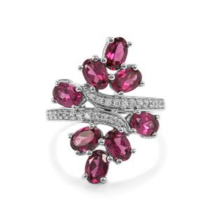Rhodolite Garnet Ring with White Zircon in Platinum Plated Sterling Silver 4.55cts