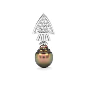 Tahitian Cultured Pearl Pendant with White Zircon in Sterling Silver (12 X 9mm)