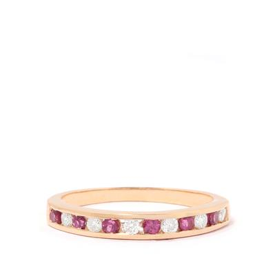LUNA RHODALITE GARNET AND DIAMOND 9K GOLD RING