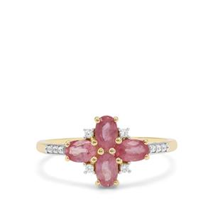 Padparadscha Sapphire & White Zircon 9K Gold Ring ATGW 1.47cts