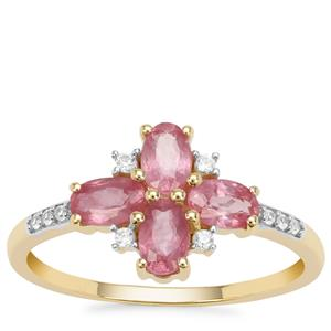 Padparadscha Sapphire Ring with White Zircon in 9K Gold 1.47cts