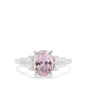 Natural Nuristan Kunzite & White Zircon Sterling Silver Ring ATGW 2.98cts