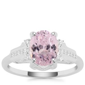 Natural Nuristan Kunzite Ring with White Zircon in Sterling Silver 2.98cts