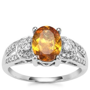 Morafeno Sphene Ring with Diamond in 18k White Gold 1.77cts