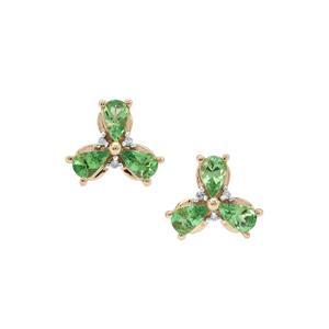 Tsavorite Garnet & Diamond 9K Gold Earrings ATGW 1.22cts