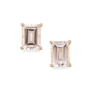 Alto Ligonha Morganite Earrings with White Zircon in 10K Gold 2.90cts