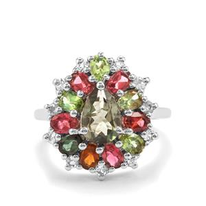 Rainbow Tourmaline Ring with White Topaz in Sterling Silver 3.47cts
