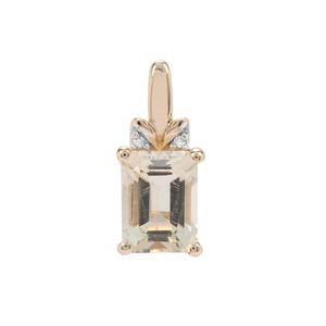Serenite & White Diamond 9K Gold Pendant ATGW 1.53cts