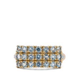 Santa Maria Aquamarine & White Zircon 9K Gold Ring ATGW 1.30cts