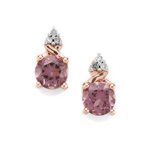 Mahenge Pink Spinel Earrings with Diamond in 10K Rose Gold 1.11cts