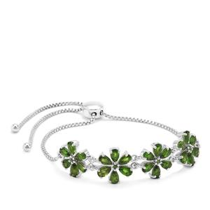 6.07ct Chrome Diopside Sterling Silver Slider Bracelet