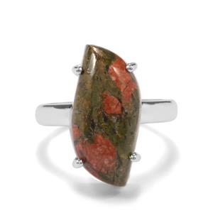 9.67ct Unakite Sterling Silver Aryonna Ring