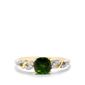 Chrome Diopside & White Zircon 9K Gold Ring ATGW 1.25cts