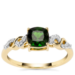 Chrome Diopside Ring with White Zircon in 9K Gold 1.25cts