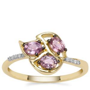 Sakaraha Pink Sapphire Ring with Diamond in 9K Gold 0.81ct