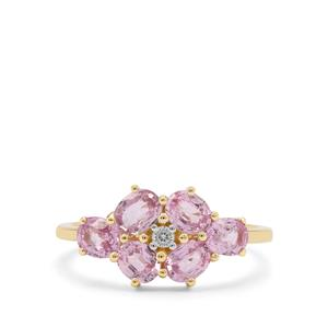 Pink Sapphire Ring with White Zircon in 9K Gold 1.95cts