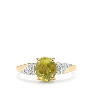Ambilobe Sphene Ring with Diamond in 18k Gold 3.03cts