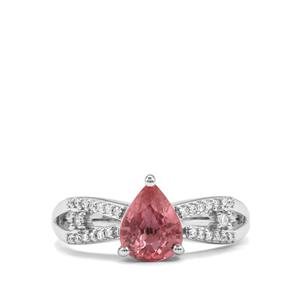 Padparadscha Sapphire Ring with Diamond in 18k White Gold 1.74cts