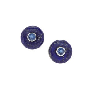 Sar-i-Sang Lapis Lazuli & Nilamani Sterling Silver Earrings ATGW 21.21cts