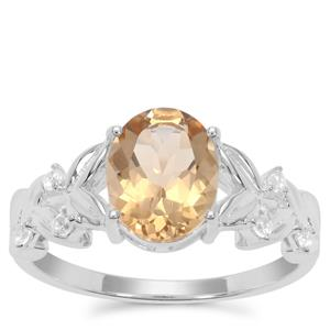 Champagne Quartz Ring with White Zircon in Sterling Silver 1.70cts