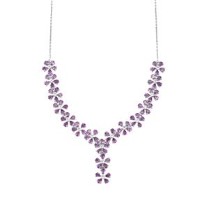 Zambian Amethyst Necklace with White Topaz in Sterling Silver 13.95cts