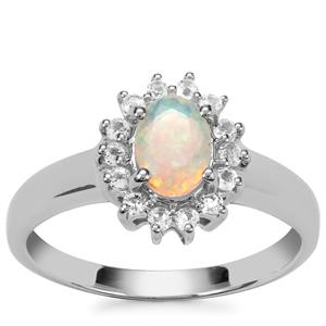 Ethiopian Opal Ring with White Topaz in Sterling Silver 0.71ct
