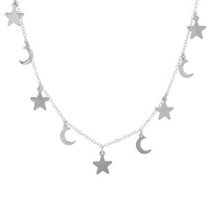 "16"" Sterling Silver Altro Star-Moon Necklace 2.66g"