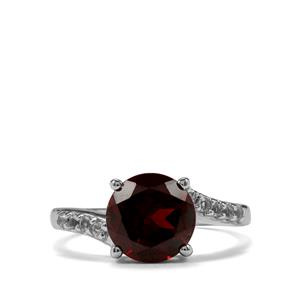 Rajasthan Garnet & White Topaz Sterling Silver Ring ATGW 3.15cts