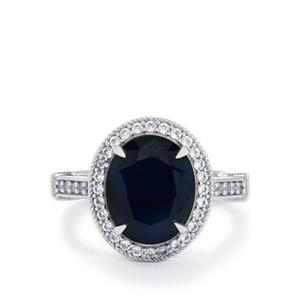 Blue Sapphire & White Topaz Sterling Silver Ring ATGW 6.13cts